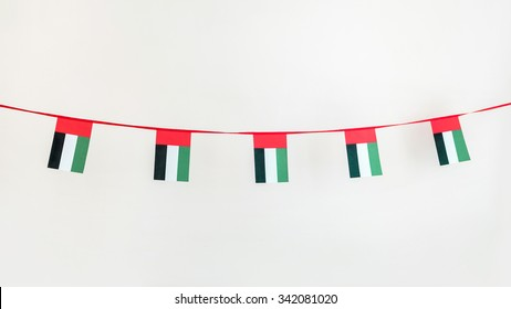 Isolated image of UAE flag buntings.