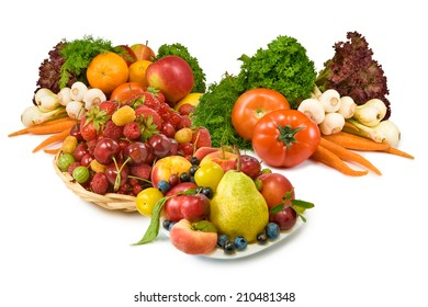 Isolated image of various fruits and vegetables on a white background closeup