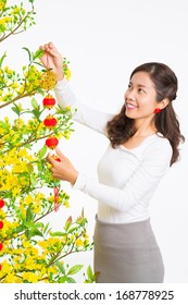 Isolated image of a young beautiful woman decorating apricot tree for traditional spring festival