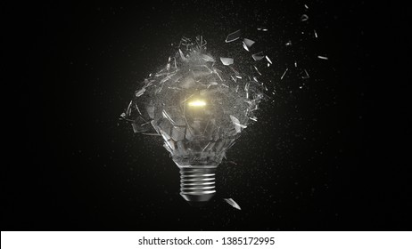 Isolated Incandescent Lightbulb Breaking into Pieces
