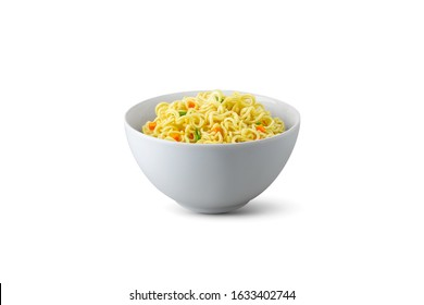 Isolated instant noodles in white bowl. Cooked instant noodles with vegetables in bowl isolated on white background with clipping path. Asian and Chinese style fast food concept