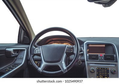 isolated interior of the car, the driver's seat on white background