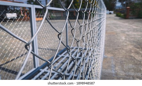 Isolated Iron Wire Mesh Fence On Iron Box
