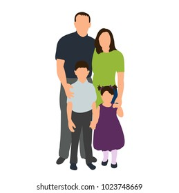 isolated isometric people, family