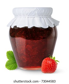 Isolated jam. Closed glass jar with strawberry jam and one berry isolated on white background