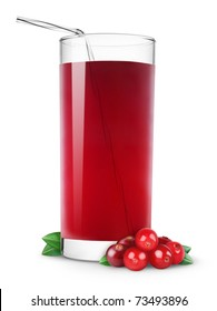 Isolated juice. Glass of cranberry drink isolated on white background