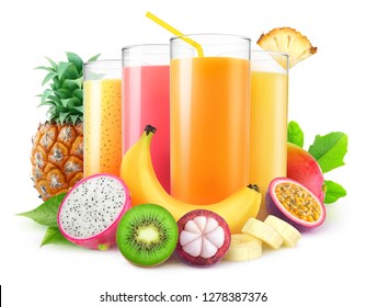 Isolated juices. Glasses of fresh juice and pile of tropical fruits isolated on white background with clipping path