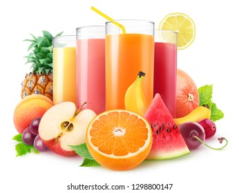 Isolated juices. Glasses of fresh juice and pile of fruits and berries isolated on white background with clipping path