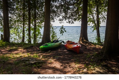 Isolated Kayaks on the Shores of Lake Michigan