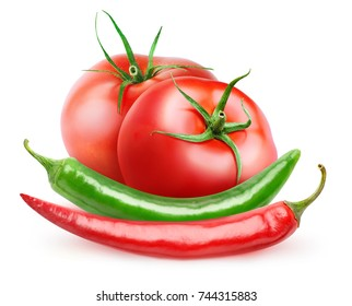 Isolated ketchup sauce ingredients. Two fresh tomatoes, green and red chili peppers isolated on white background with clipping path