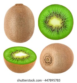 Isolated kiwi. Collection of whole and cut kiwi fruits isolated on white background with clipping path