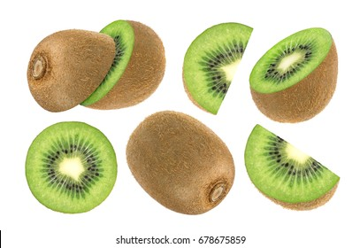 Isolated kiwi fruit. Collection of whole and sliced kiwi isolated on white background with clipping path