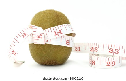 isolated kiwi with measuring tape