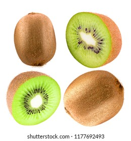 Isolated kiwi. TCollection of kiwi fruit isolated on white background as package design element. Healthy eating.