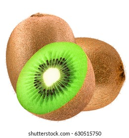 Isolated kiwi. Two kiwi fruit and half isolated on white background as package design element. Healthy eating.