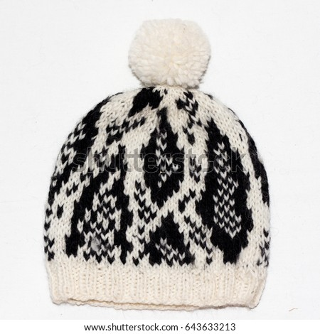 f8c30225aec Isolated Knitted Black White Cap On Stock Photo (Edit Now) 643633213 ...