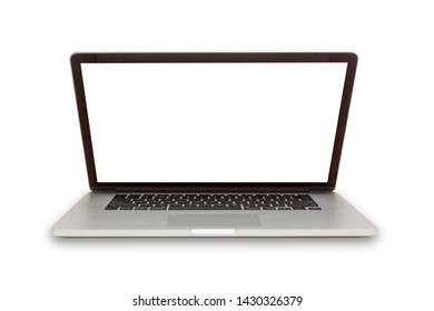 Isolated laptop with empty space on white background