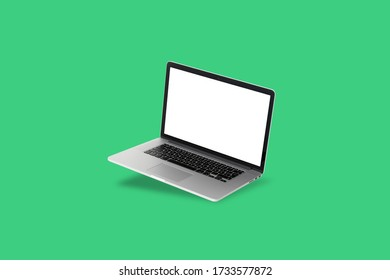 isolated laptop on a green background