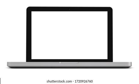 Isolated laptop on white background.