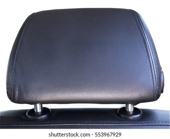 Isolated leather car headrest. Horizontal.