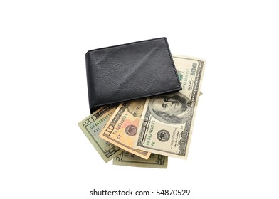 isolated leather purse with money