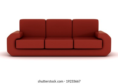 Isolated leather sofa. An interior. 3D image.