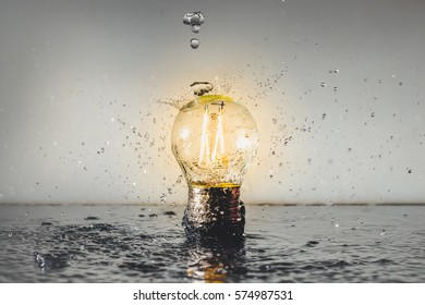 Isolated Led Light, Water Splash