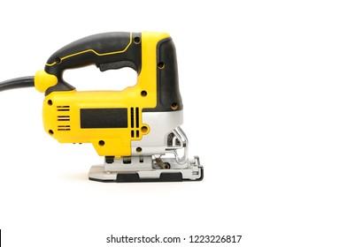 Isolated left right electric jig saw on a white background