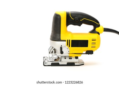 Isolated left side electric jig saw on a white background