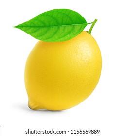 Isolated lemon. One whole lemon fruit with leaf isolated on white background