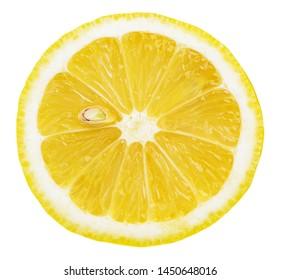 Isolated lemon. Slice of fresh lemon isolated on white background with clipping path