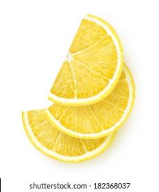 Isolated lemon. Lemon slices isolated on white background