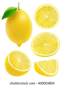 Isolated lemons. Collection of whole and cut lemon fruits isolated on white background with clipping path