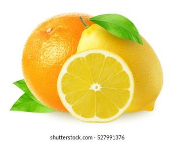 Isolated lemons with orange fruit isolated on white background