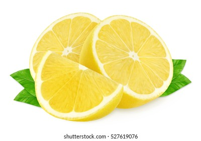 Isolated lemons. Two half of lemons and a piece isolated on white, with clipping path