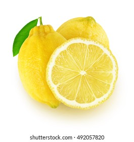 Isolated lemons. Two lemon fruits and a slice isolated on white background with clipping path