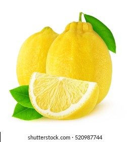Isolated lemons. Two whole lemon fruits and a slice isolated on white background with clipping path