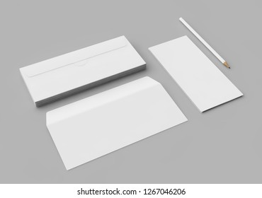 Isolated Letterhead and Envelope, Blank Template for Corporate Identity