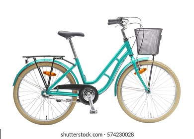Isolated Light Blue Kids Bicycle With Basket