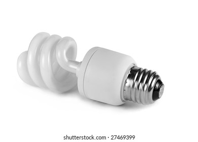 Isolated lightbulb over a white background.