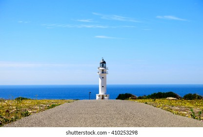 Isolated lighthouse at cap de Barbaria, Formentera, Balearic Islands (Spain)