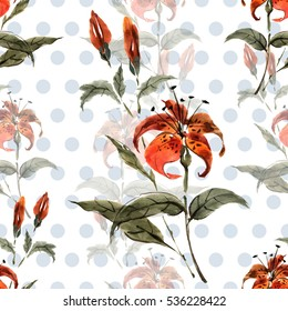 Isolated lily flowers on a white background seamless floral pattern.