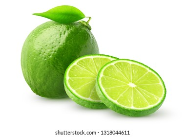 Isolated lime fruit. Whole lime fruit and slices isolated of white background with clipping path