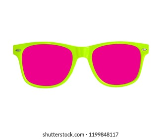 Isolated Lime Green and Hot Pink Summer Sunglasses white background