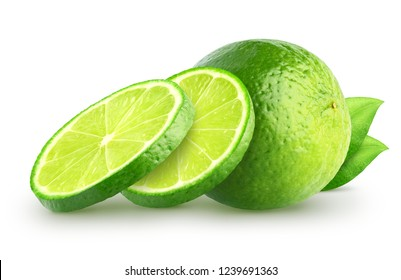 Isolated lime slices. Whole and sliced lime fruits with leaves isolated of white background with clipping path
