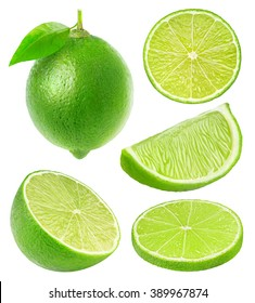 Isolated limes. Whole lime fruit and slices isolated on white background with clipping path