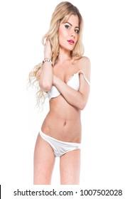 Isolated lingerie model