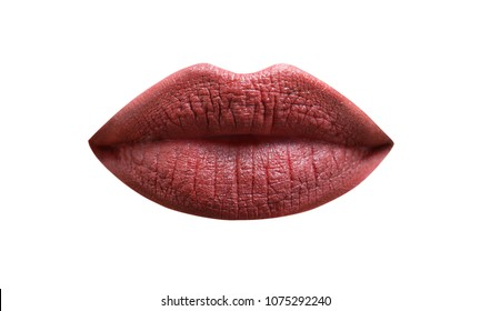 Isolated lip. Closeup, macro with beautiful mouth, sensual makeup. Isolated mouth, care. Dark brown lips, portrait.