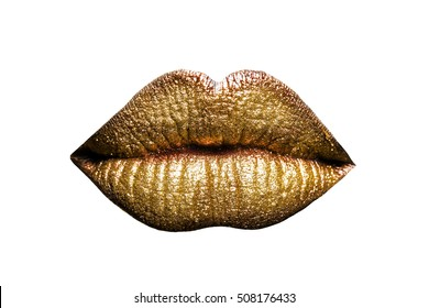 Isolated lips with golden lipstick on white background
