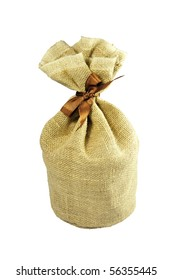 isolated little sack made of brown burlap